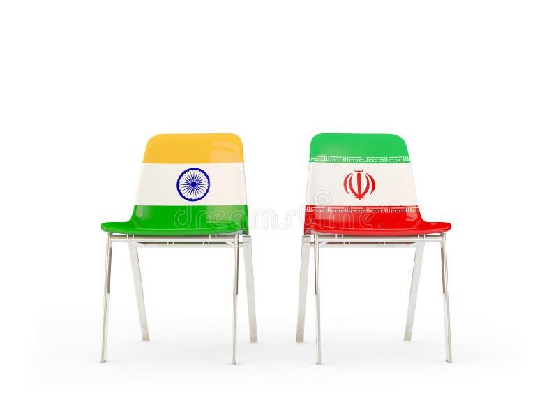 Två stolar med flaggor av Indien och Iran stock illustrationer