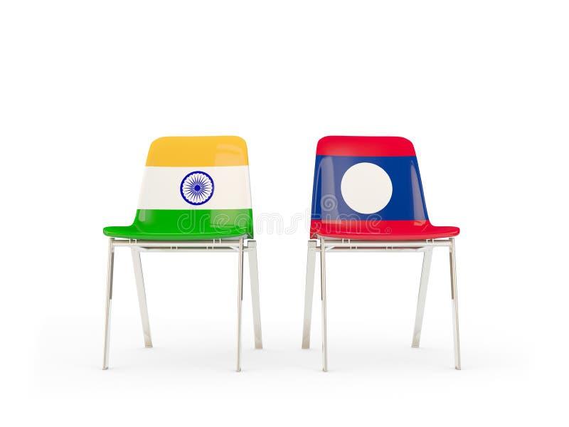 Två stolar med flaggor av Indien och Laos stock illustrationer