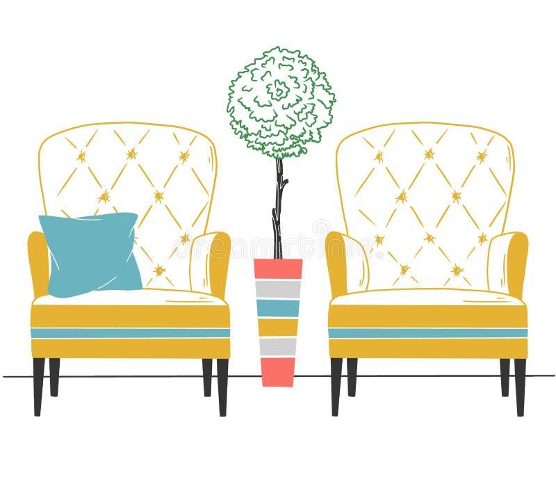 Två stolar och ett träd i en hög kruka Illustration i plan stil vektor illustrationer