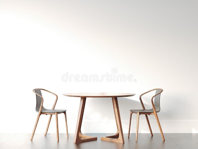 Två stolar och tabell i ljus modern inre framförande 3d royaltyfri foto