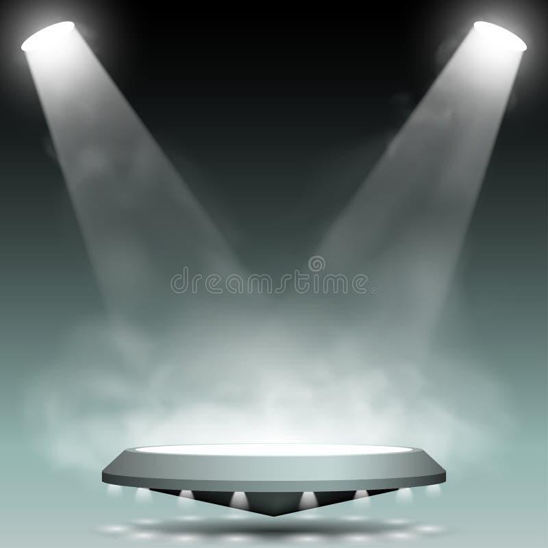 Två strålkastare med dimmaeffekt royaltyfri illustrationer