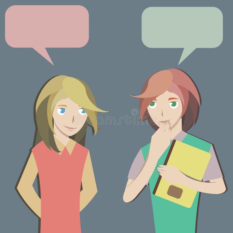 Två studenter pratar stock illustrationer