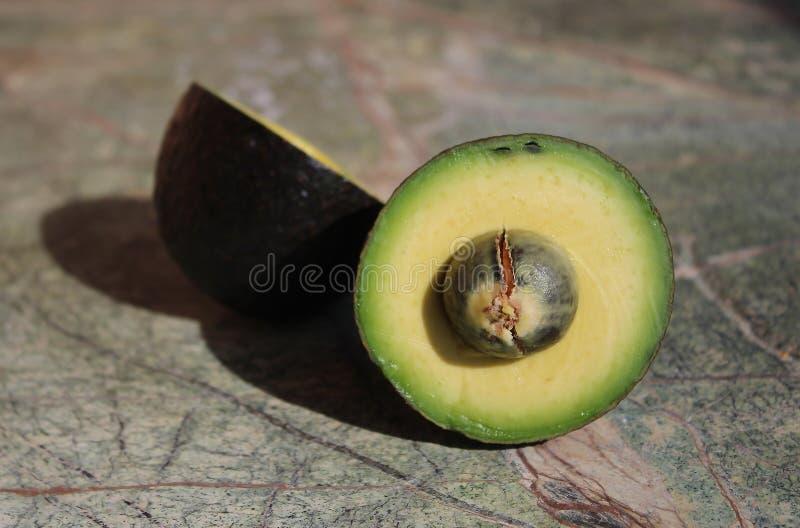 Två stycken av avokadot Avokadosnitt in i två delar royaltyfri fotografi