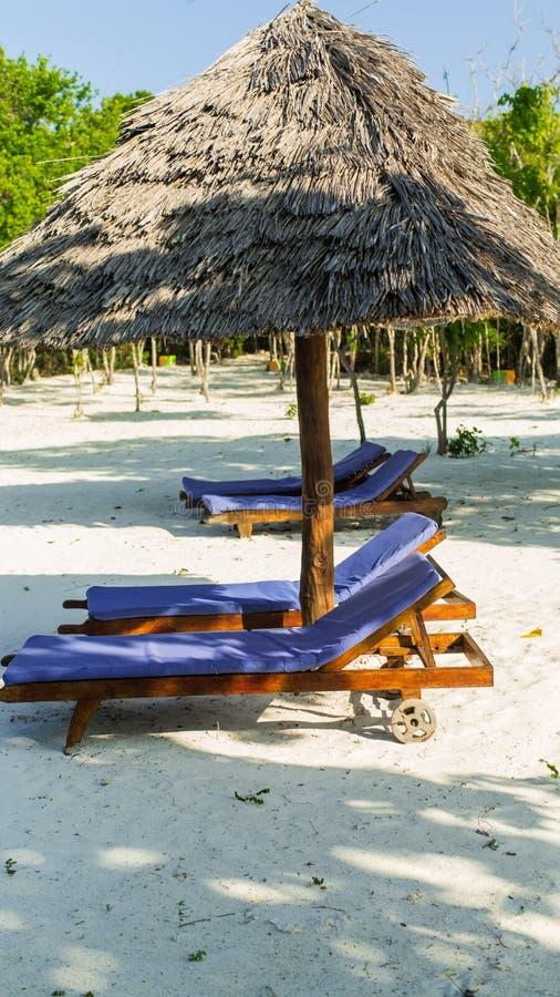 Två sunbeds och slags solskydd på den tropiska sandiga stranden. Semestra royaltyfri bild