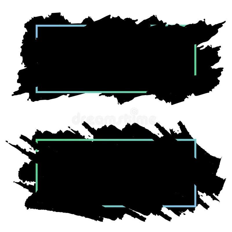 Två svarta baner, titelrader av färgpulverborsteslaglängder, vektoruppsättning royaltyfri illustrationer