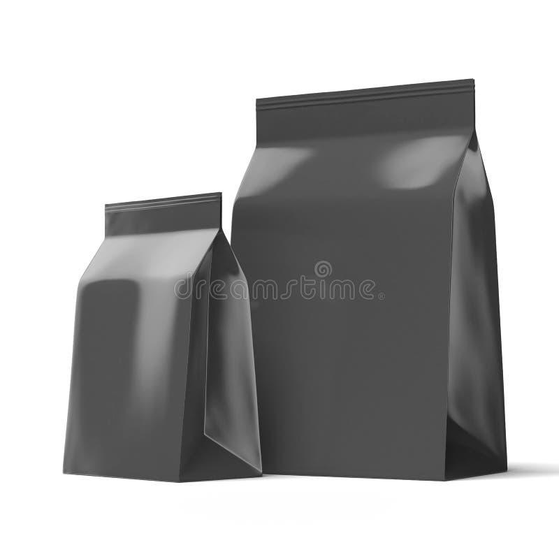 Två svarta foliepackar