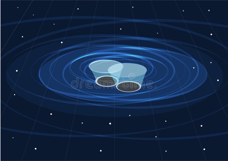 Två svarta hål som applicerar och, skapar gravitations- vågor vektor illustrationer