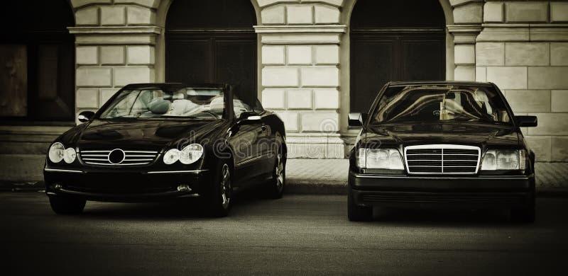 Två svarta Mercedes royaltyfri bild