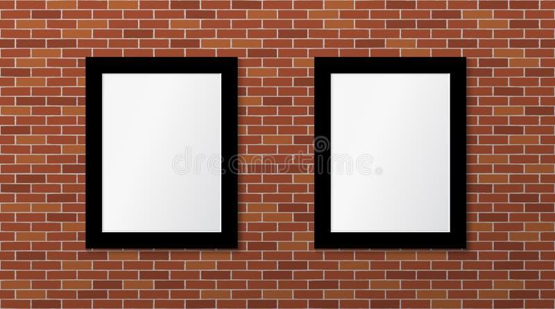 Två svarta ramar på en tegelstenvägg Vektor?tl?je upp vektor illustrationer