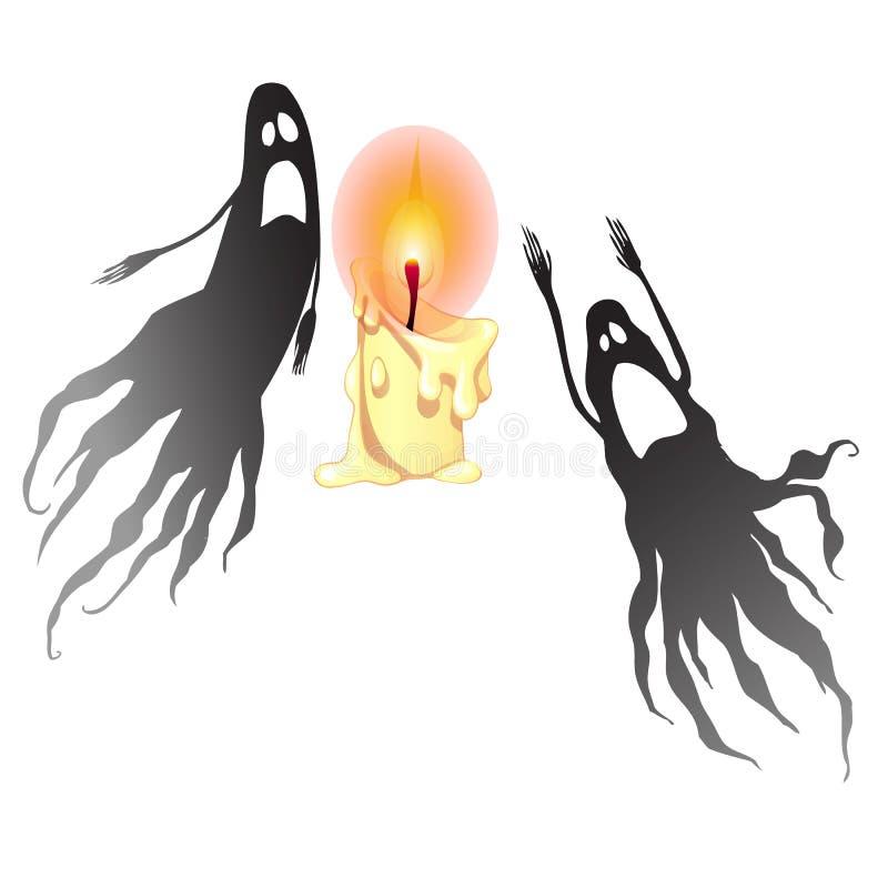 Två svarta spökar och en brinnande stearinljus som isoleras på vit bakgrund Illustration för vektortecknad filmnärbild royaltyfri illustrationer