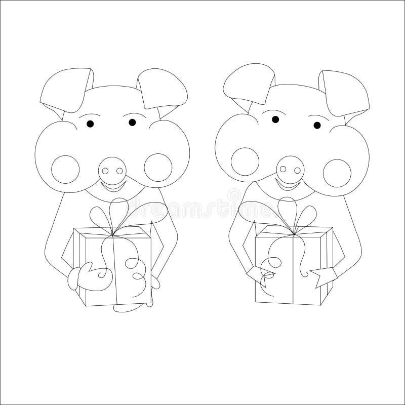 Två svin med gåvor, monokrom skissar designbeståndsdelen vektor illustrationer