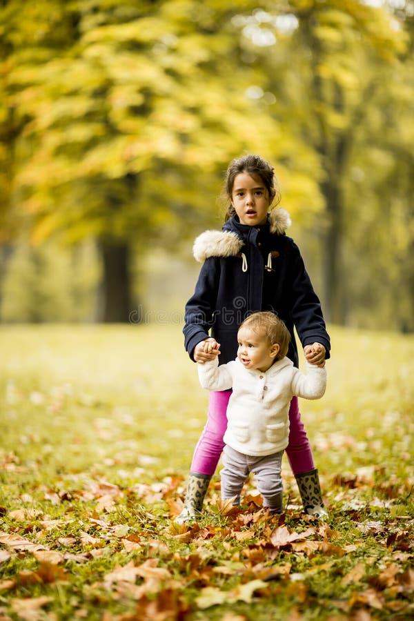 Två systrar för liten flicka` s i höst parkerar royaltyfria foton
