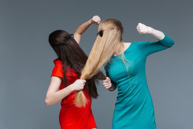 Två täckte ilskna kvinnor vänder mot med långt hår och stridighet arkivfoton
