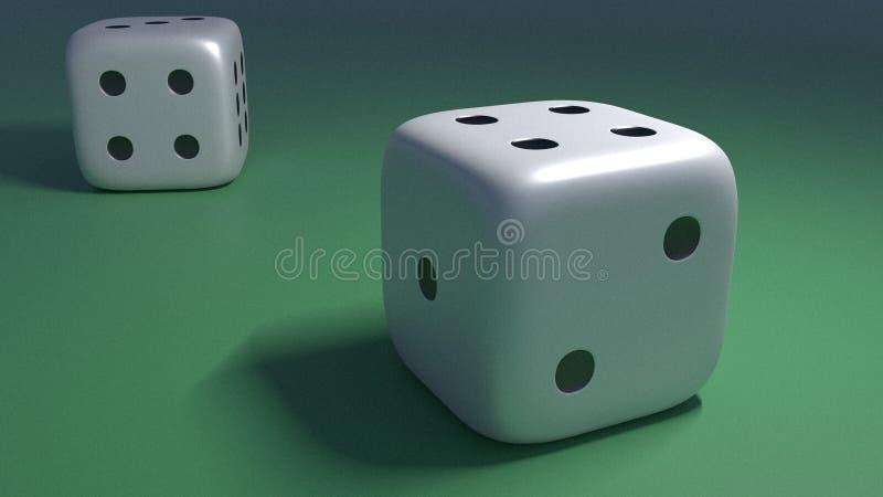 Två tärnar på en grön tabell i kasino royaltyfri illustrationer