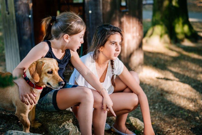 Två talande flickor på en lekplats i sommar royaltyfria foton