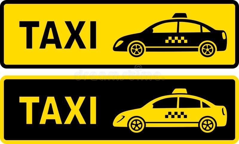 Två taxitecken stock illustrationer