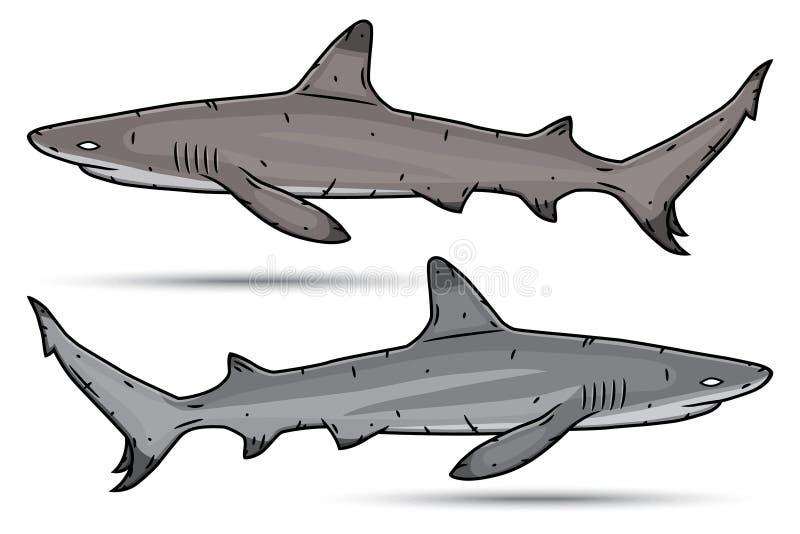 Två tecknad filmhajar som isoleras på vit bakgrund stock illustrationer