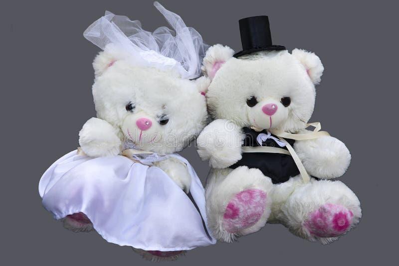Två Teddy Bears som isoleras på grå bakgrund royaltyfria bilder