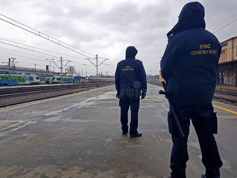 Två tjänstemän av den järnväg vakten i likformign står på en perron på stationen i förkylning, molnigt väder Transportcommun arkivbild