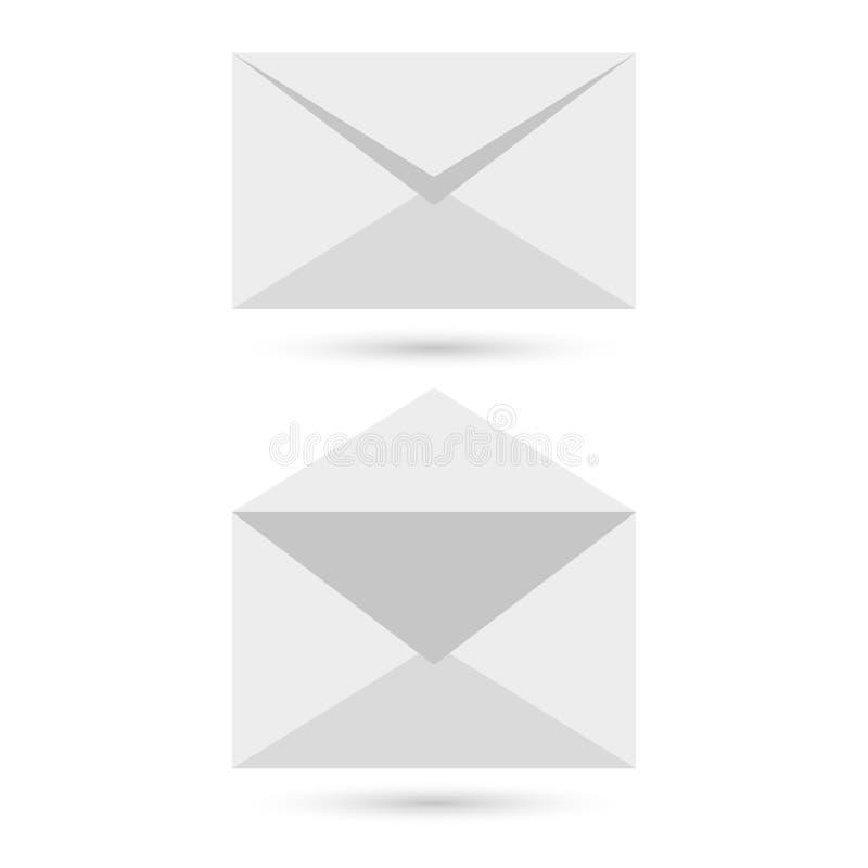 Två tomma kuvert - öppnade ett stängt, med mjuka skuggor, på grå bakgrund royaltyfri illustrationer
