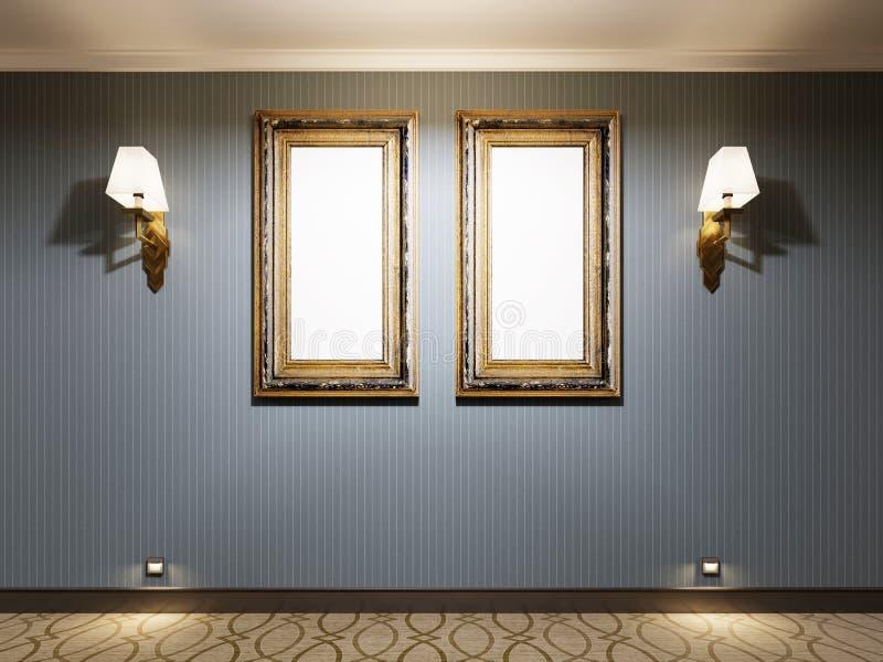 Två tomma målningar i en guld- ram på en blå vägg med lampetter, modellaffisch stock illustrationer