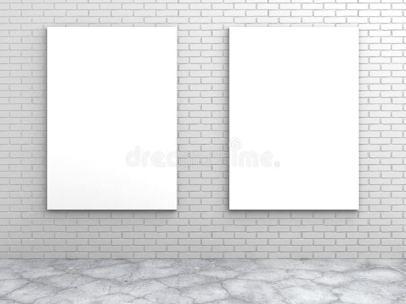Download Två Tomma Ramar För Vit På En Tegelstenvägg Stock Illustrationer - Illustration av meddelande, closeup: 78729309