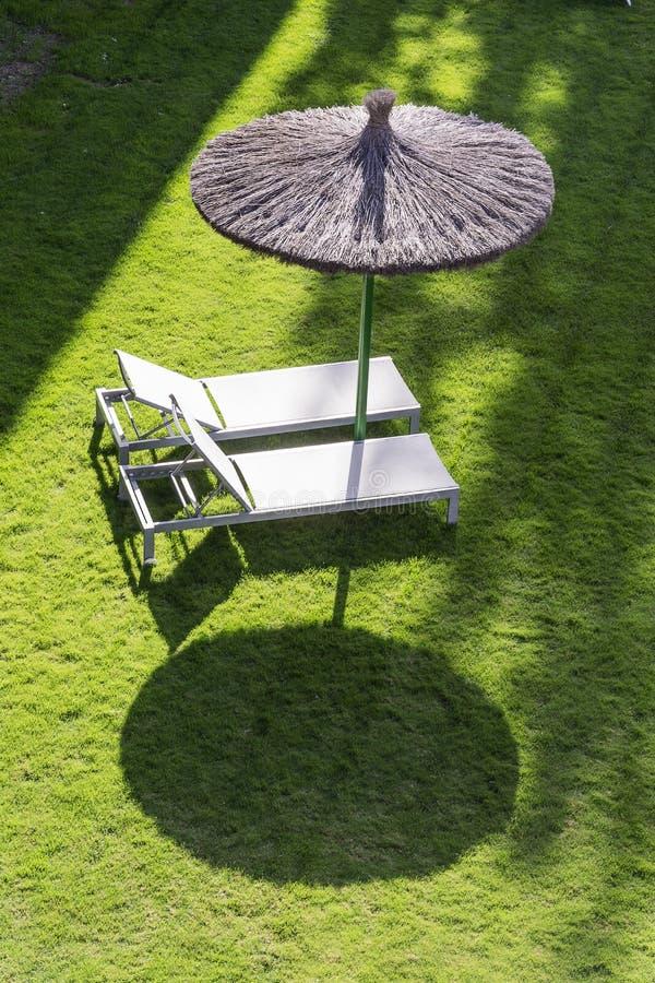 Två tomma sunbeds på ett grönt fält med ett paraply, ordnar till för att folk ska koppla av och för att ta en sunbath arkivbilder