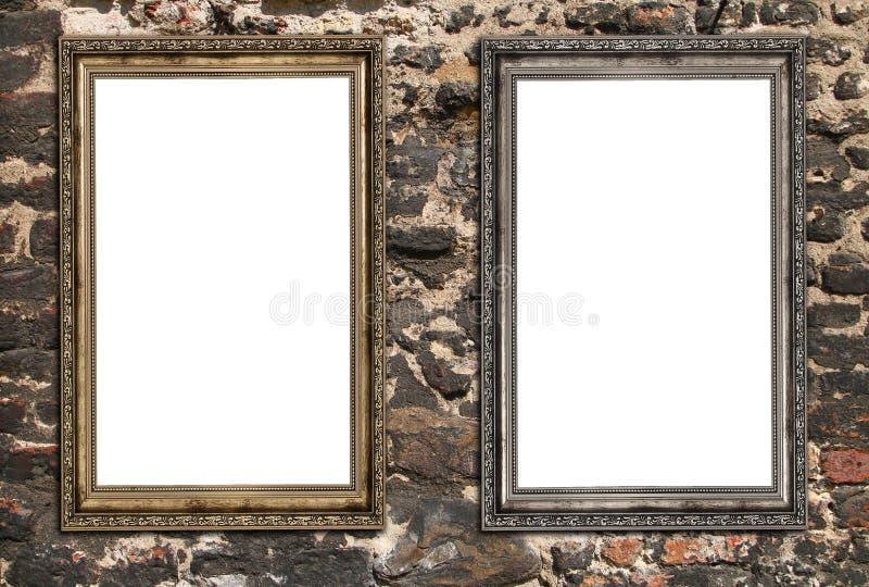 Två tomma träramar arkivfoto