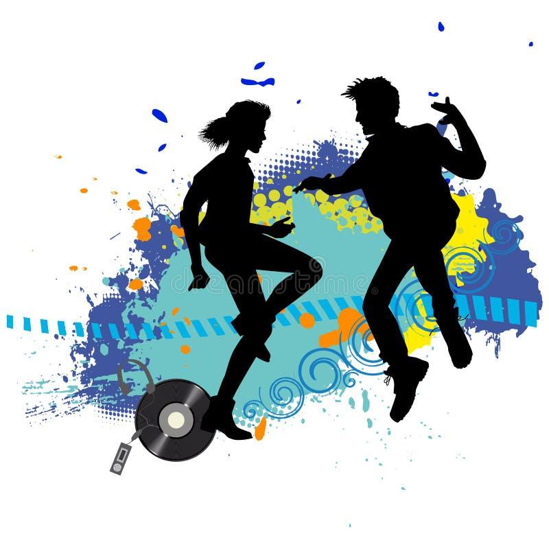 Två tonår på ett disko vektor illustrationer