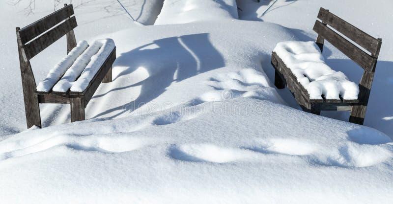 Två träbänkar i en snödriva fotografering för bildbyråer
