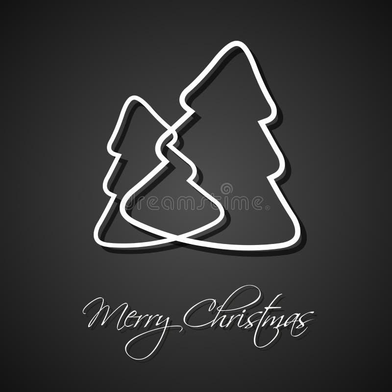 Två träd för vit jul på svart bakgrund, feriekort royaltyfri illustrationer