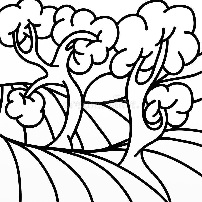 Två träd i svartvitt vektor illustrationer