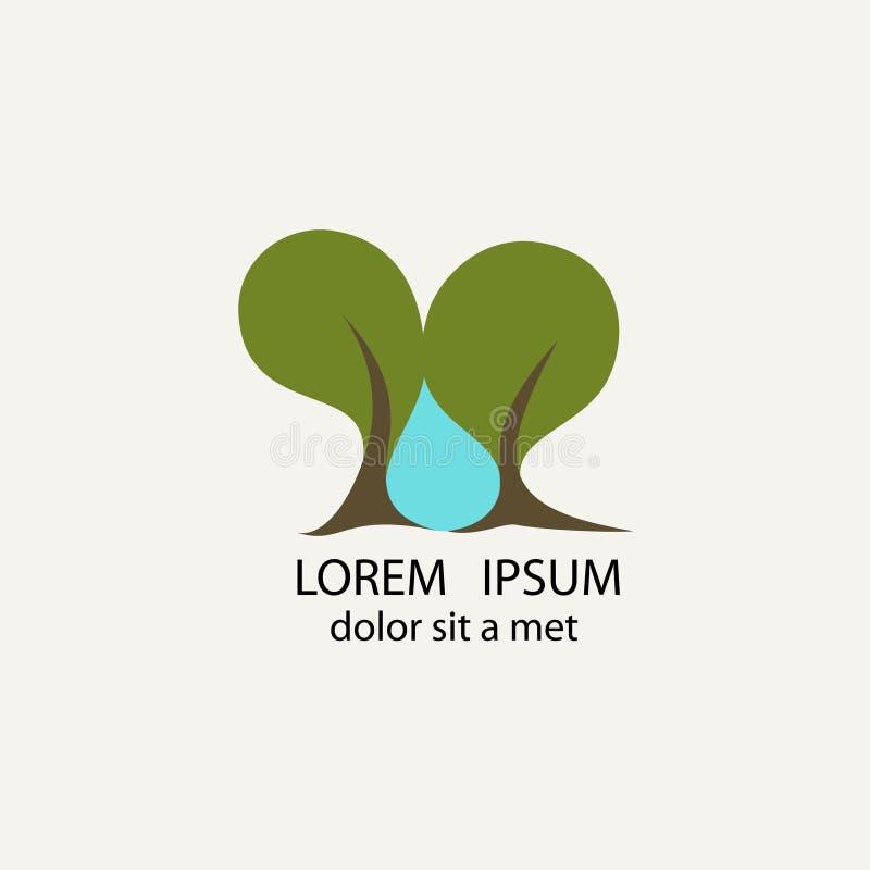 Två träd och en droppe av vatten dem emellan vektor illustrationer