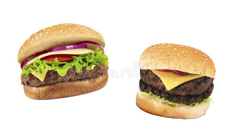 Två trevliga hamburgare på vit arkivfoto