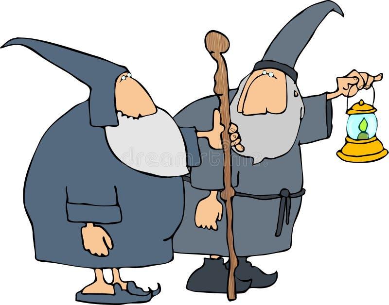 två trollkarlar vektor illustrationer