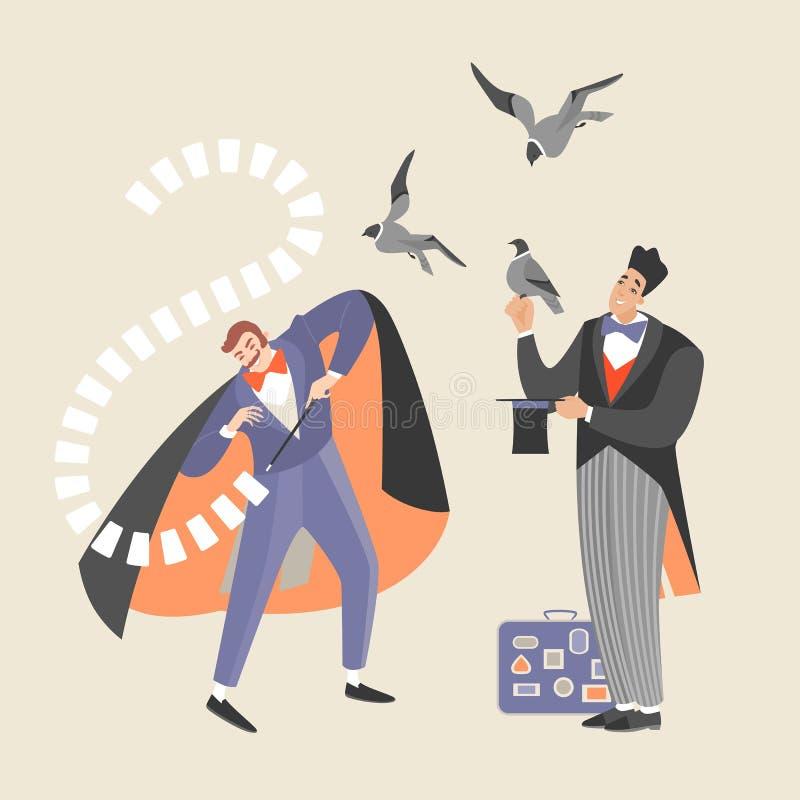 Två trollkarlar visar trick med kort och fåglar royaltyfri illustrationer