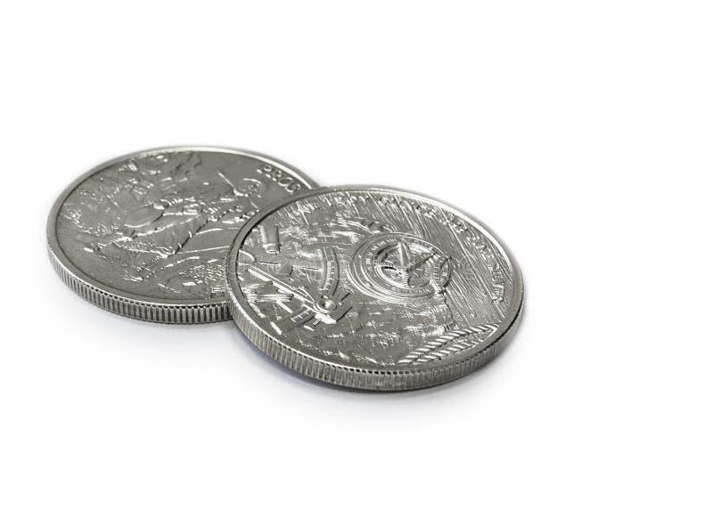 Två Troy Ounces av fin silver - 999 - mynt arkivfoton