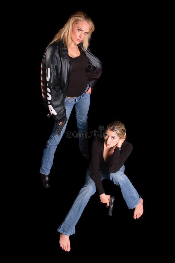Två trycksprutakvinnor fotografering för bildbyråer