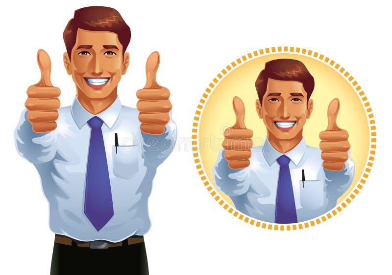Två tummar upp stock illustrationer