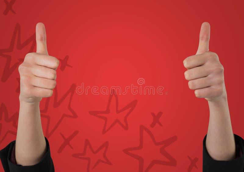 Två tummar upp mot röd bakgrund med den hand drog stjärnamodellen royaltyfri illustrationer