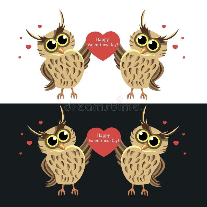 Två ugglor med hjärta lycklig s valentin för dag - Vektorillustration vektor illustrationer
