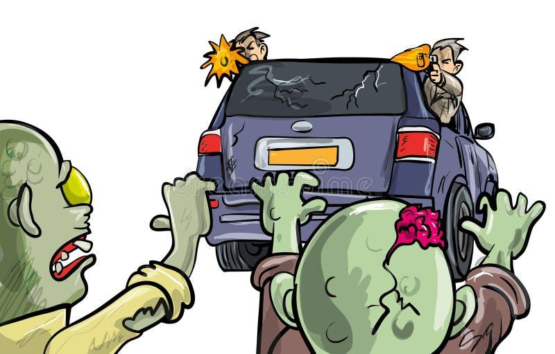 Spring från zombies i en bil royaltyfri illustrationer