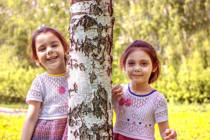Två ung flickaställningar nära ett träd arkivbild
