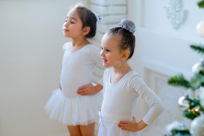 Två unga balettdansörer som lär kursen nära julgranen royaltyfri foto