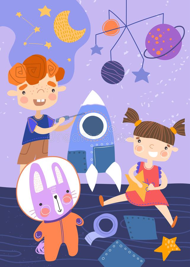 Två unga barn som spelar med ett rymdskepp, stjärnor och planeter och kanin i astronautdräkt i deras barnkammare i a vektor illustrationer