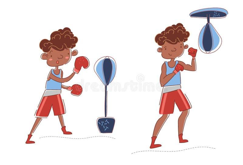 Två unga boxare - den erfarna idrottsman nen och nybörjareutbildningen på stansmaskinpåsar i en olik idrottshall poserar itu i a stock illustrationer