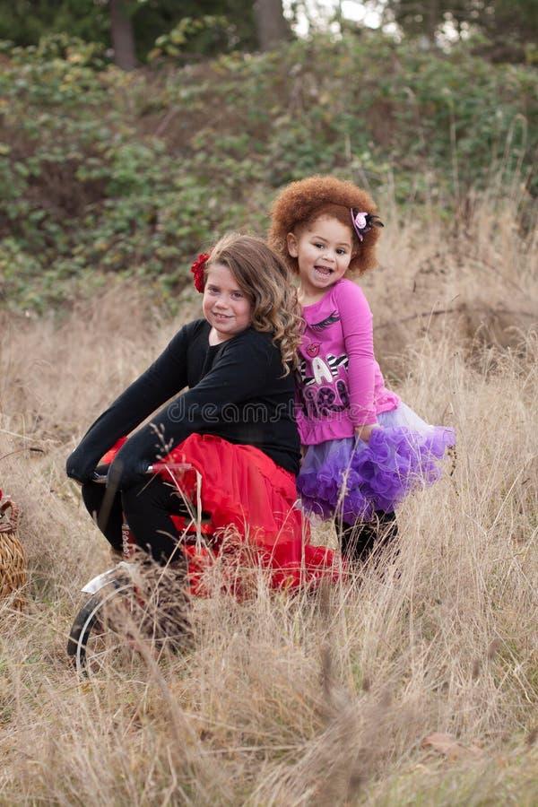 Två unga flickor på cykeln arkivbild