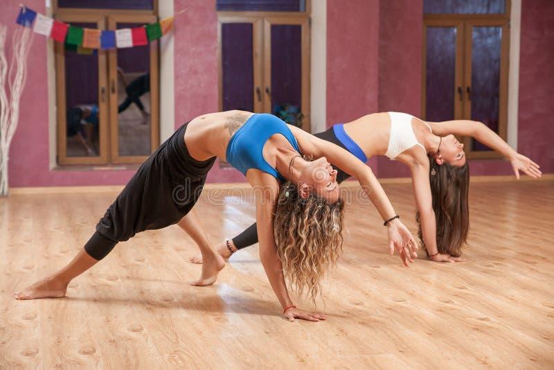 Två unga flickor som inomhus gör yoga royaltyfri fotografi