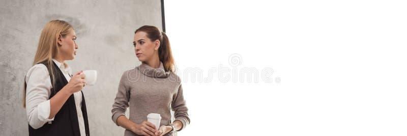 Två unga flickvänner som sitter i modern coffee shopinre och talar med lyckliga leenden Panorama- baner med kopieringsutrymme royaltyfria foton