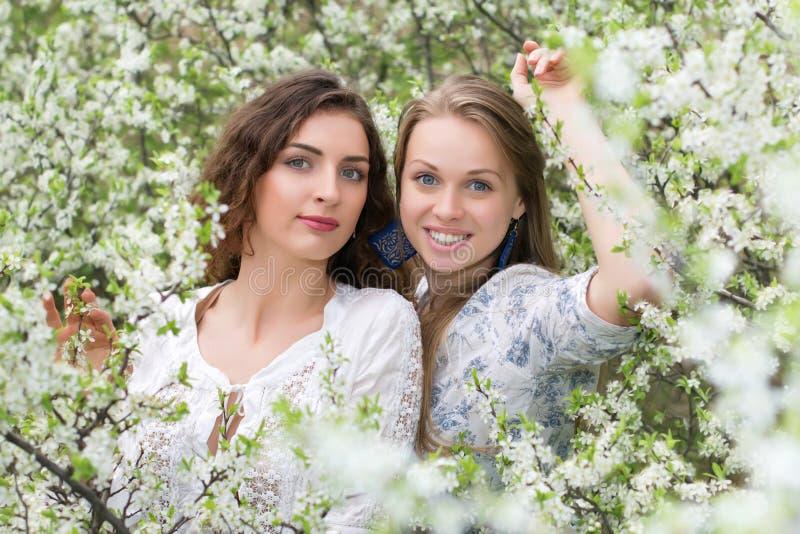 Två unga härliga damtoalett fotografering för bildbyråer